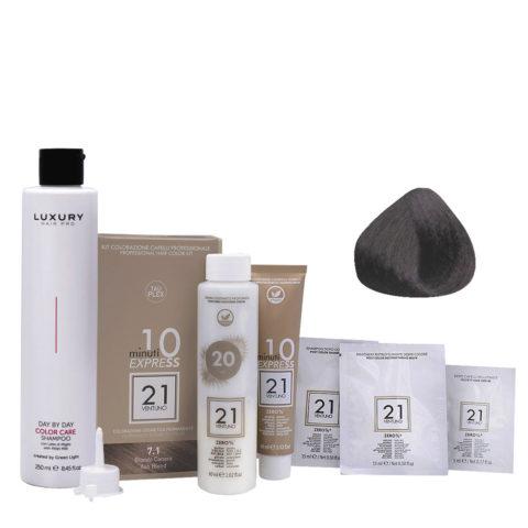 21 Ventuno Kit Couleur Professionnel 7.1 Marron Foncé + Shampooing Gratis 250ml