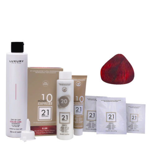 21 Ventuno Kit Couleur 6.66 Blond Foncé Rouge Intense + Shampooing Gratis 250ml
