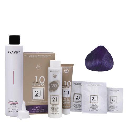 21 Ventuno Kit Couleur Professionnel 6.2 Blond Violet Foncé + Shampooing Gratuit 250ml