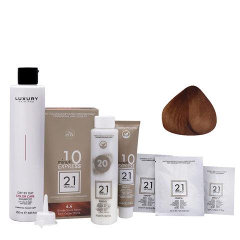 21 Ventuno Kit Couleur Professionnel 6.4 Blond Cuivré Foncé + Shampooing Gratuit 250ml
