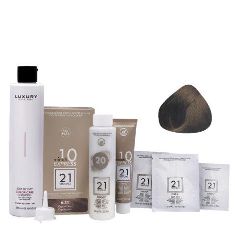 21 Ventuno Kit Couleur Professionnel 6.31 Cappuccino Couleur + Shampooing Gratuit 250ml