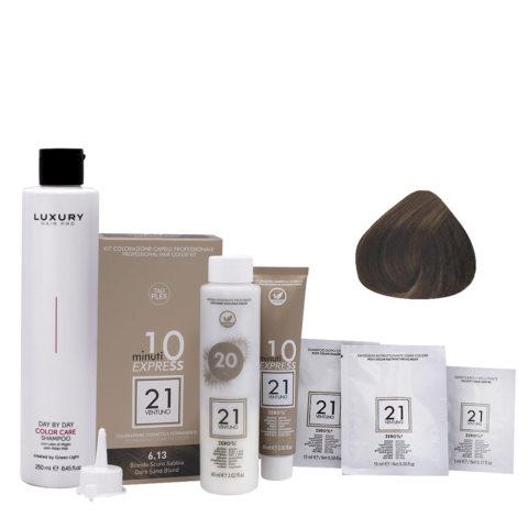 21 Ventuno Kit Couleur Professionnel 6.13 Sable Blond Foncé + Shampooing Gratuit 250ml