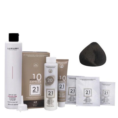 21 Ventuno Kit Couleur Professionnel 4.0 Chatain + Shampooing Gratuis 250ml