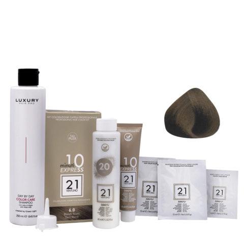 21 Ventuno Kit Couleur Professionnel 6.0 Blond Foncé + Shampooing Gratuit 250ml