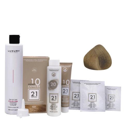 21 Ventuno Kit Couleur Professionnel 8.0 Blond Clair + Shampooing Gratuit 250ml
