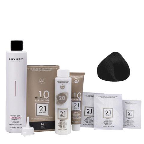 21 Ventuno Kit Couleur Professionnel 1.0 Noir + Shampooing Gratuit 250ml