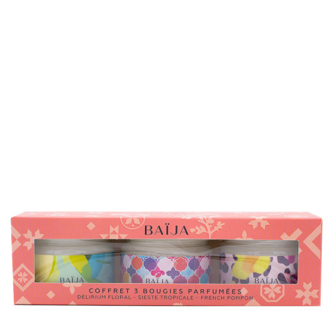 Baija Paris Coffret cadeau avec 3 bougies parfumées 3x50gr
