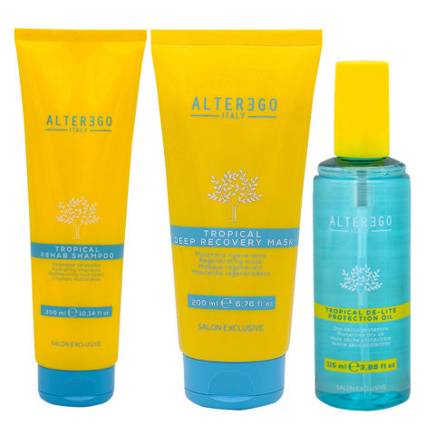 Alterego Shampooing Ligne Solaire 300 ml Masque 200 ml Huile Solaire 115ml