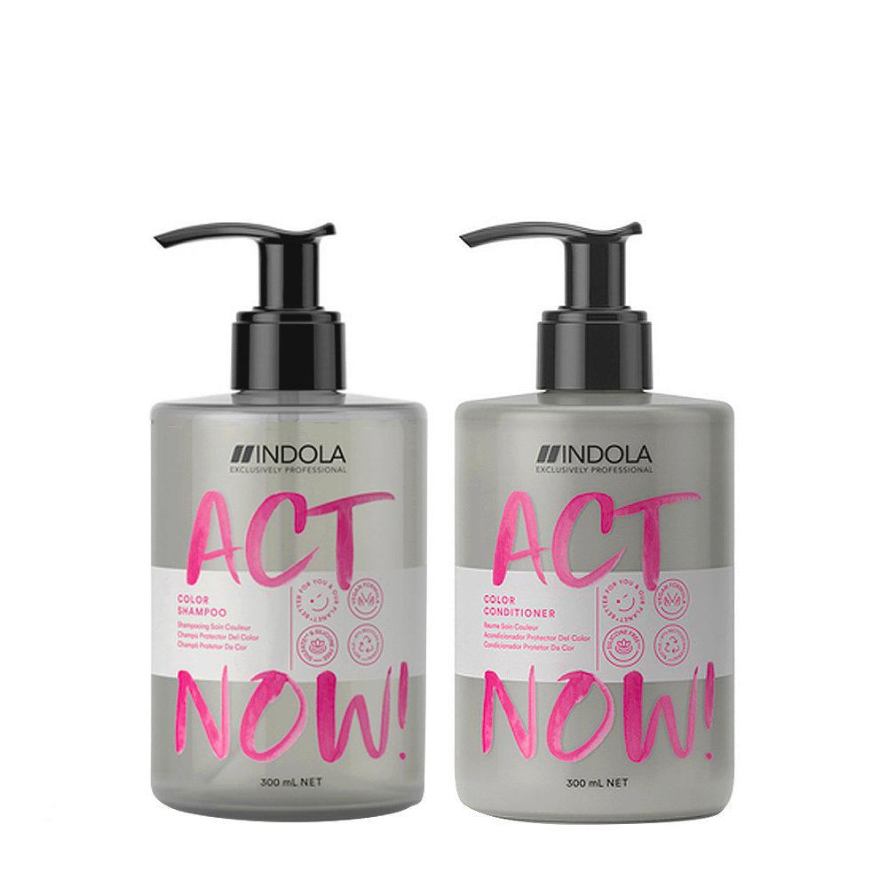 Indola Act Now Shampooing 300ml Et Baume 300ml Cheveux Colorés
