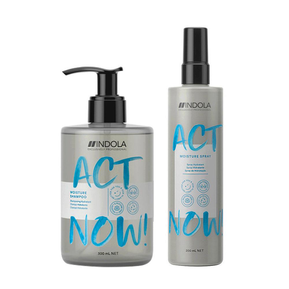 Indola Act Now Hydratante Pour Cheveux Secs Shampooing 300ml Et Spray Hydratante 200ml