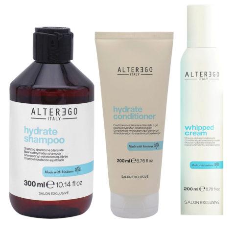 Alterego Hydrate Set Shampooing Hydratant 300ml, Revitalisant 200ml et Mousse 200ml