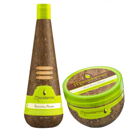 Macadamia Kit Hydratant Cheveux Abîmés Shampooing 300ml et Masque 236ml