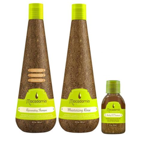 Macadamia Kit Shampooing Cheveux Secs 300ml Baume 300ml Huile d'Argan 27ml