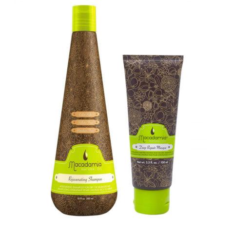 Macadamia Kit Shampooing Hydratant Cheveux Secs 300ml Masque 100ml