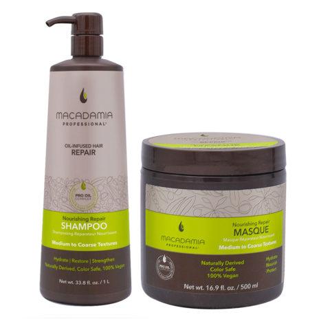 Macadamia Set cheveux abîmés Shampooing 1000ml et Masque 500ml