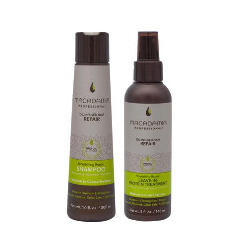 Macadamia Set Shampooing cheveux abîmés 300 ml et sérum protéiné 148 ml