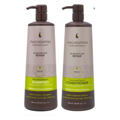 Macadamia Set Cheveux Abimés Shampooing 1000ml et Baume 1000ml