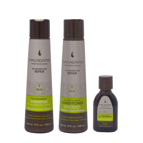Macadamia Set Cheveux Abimés Shampooing 300ml Baume 300ml Huile Hydratant 27ml