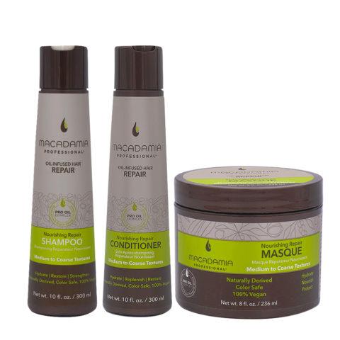 Macadamia Set Cheveux Abimés Shampooing 300ml Baume 300ml Masque 236ml