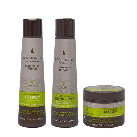 Macadamia Set Cheveux Abimés Shampooing 300ml Baume 300ml Masque 60ml
