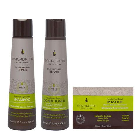 Macadamia Set Cheveux Abimés Shampooing 300ml Baume 300ml Masque 30ml