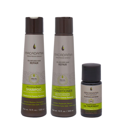 Macadamia Set Cheveux Abimés Shampooing 300ml Baume 300ml Huile Hydratant 10ml