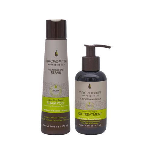 Macadamia Set Cheveux Abimés Shampooing 300ml Et Huile Hydratante 125ml