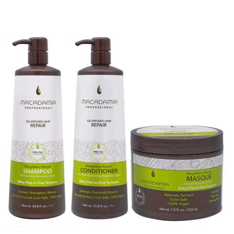 Macadamia Set Shampooing et Après-shampooing 1000ml Cheveux abîmés et fins Masque 222ml