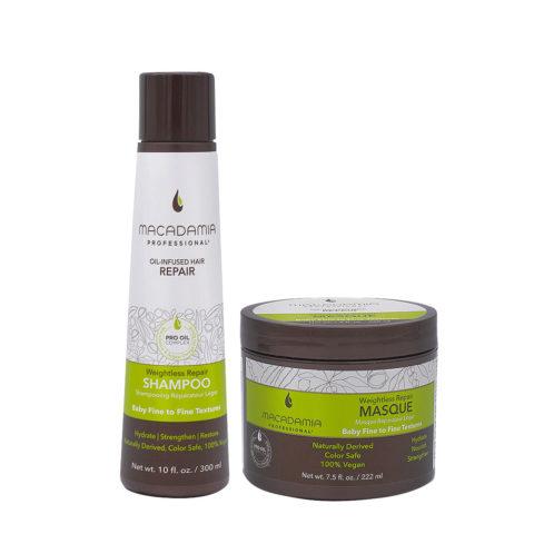 Macadamia Set Shampooing cheveux abîmés et fins 300 ml et masque 222ml