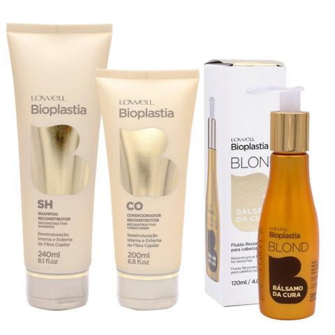Lowell Bioplastia Shampooing 240ml Revitalisant 200ml Fluide 120ml pour cheveux blonds abîmés