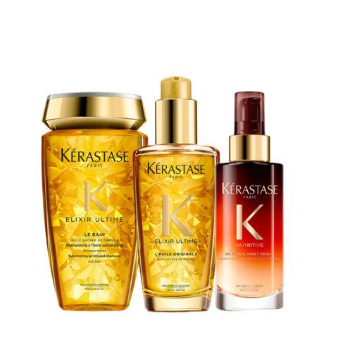 Kerastase Elixir Ultime Kit Shampooing 250ml Huile 100ml Sérum de nuit 90ml