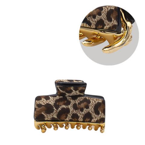 VIAHERMADA Pince à cheveux léopard marron