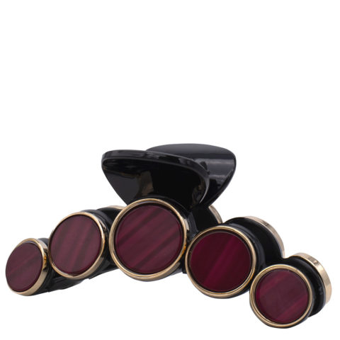VIAHERMADA Barrette à cheveux avec disques de pierre rouge