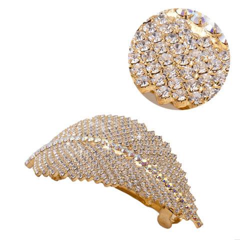 VIAHERMADA Pince à cheveux feuille d'or Matic avec strass