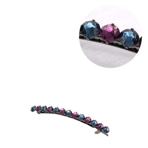 VIAHERMADA Pince à cheveux Matic avec cristaux violets