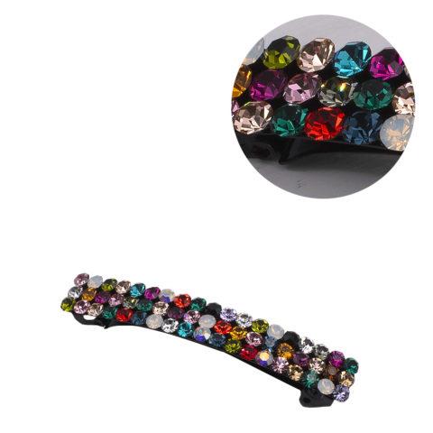 VIAHERMADA Pince à cheveux Matic avec 3 rangées de cristaux multicolores