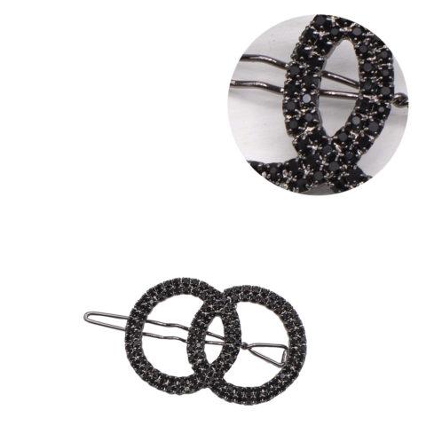 VIAHERMADA Pince à cheveux cercles noirs avec strass