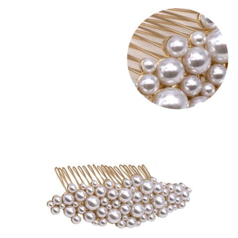 VIAHERMADA Pince à cheveux peigne doré avec perles