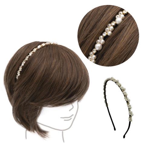 VIAHERMADA Serre-tête noir avec perles et strass