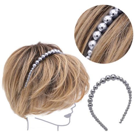 VIAHERMADA Serre-tête en Perles Métallisées Anthracite