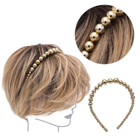 VIAHERMADA Serre-tête perlé doré métallisé
