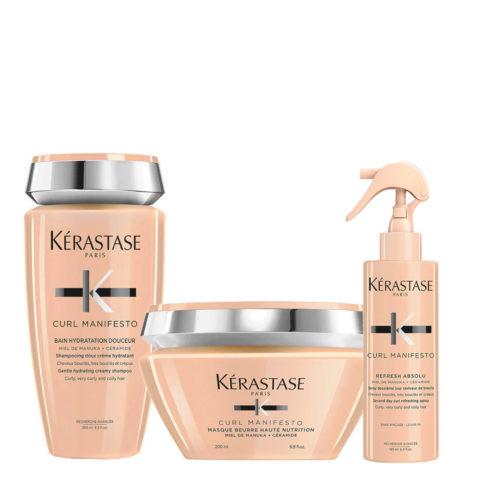 Kerastase Curl Manifesto Bain Kit Shampooing 250ml Masque 200ml Spray 190ml