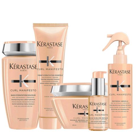 Kerastase Curl Manifesto Kit Shampooing Cheveux Bouclés250ml Mask200ml Conditioner250ml Oil50ml Spray190ml