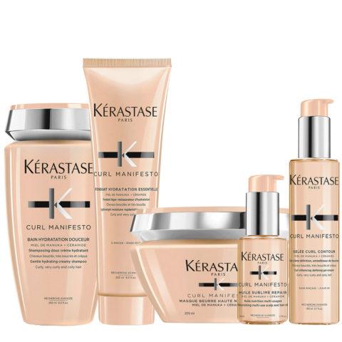 Kerastase Curl Manifesto Kit Shampooing Cheveux Bouclés 250ml Masque 250ml Revitalisant 250ml Huile50ml Crème150ml