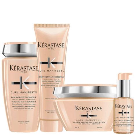 Kerastase Curl Manifesto Kit Shampooing Cheveux Bouclés 250ml Masque 250ml Revitalisant 250ml Huile50ml