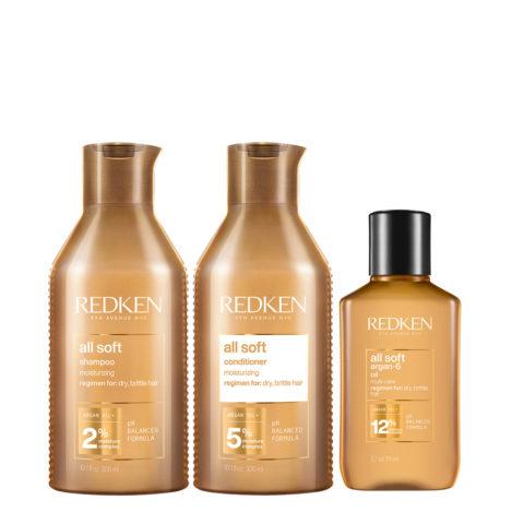 Redken All Soft Kit Shampoing300ml Après-Shampoing 300ml Huile90ml