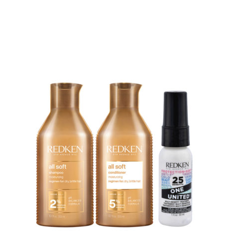 Redken All Soft Kit Shampoing300ml Après-Shampoing300ml One United All in one spray30ml