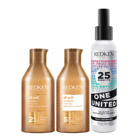 Redken All Soft Kit Shampoing300ml Après-Shampoing 300ml One United All in one spray 150ml