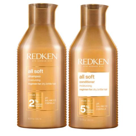 Redken All Soft Kit Shampooing 500ml et Revitalisant 500ml - cheveux secs