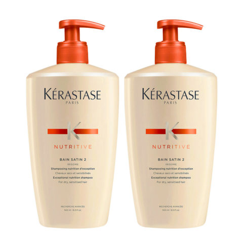Kerastase Nutritive Bain Satin 2 Kit 2 2  shampooing illuminateur cheveux blondes 500+500ml